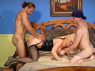 Kayla Quinn was dressed up for a fuck and she was sure happy to find two hot men waiting for her Two bisexual studs were more than ready to fuck her and even offer their tight asses for a fucking Watch as Kayla gets in control and rams a clear dildo up some tight ass