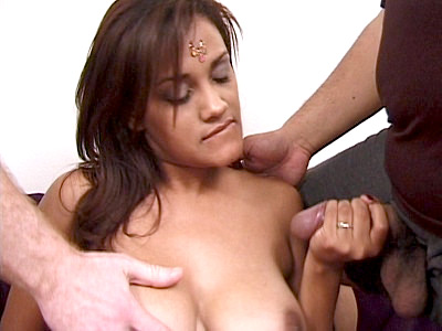 Dahlia is an Indian beauty with nice set of tits and a sultry face Watch her hit it off with two horny studs and gives them turn in having their cocks sucked Check her out she looks so hot and sexy as she passionately sucks a cock while riding on top of another